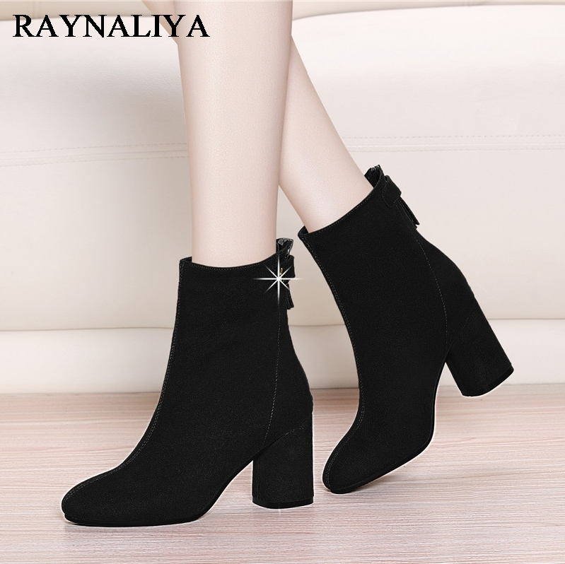 где купить Mid Calf Boots For Women Chelsea Black Red Zip Fashion Short Boots Square High Heel Shoes Woman Microfiber Flock Shoes YG-A0015 по лучшей цене