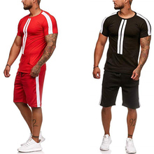 Summer Men's Sets T Shirts+Shorts Two Pieces Sets Casual Striped patchwork Tracksuit 2019 Plus size Gyms Fitness Sportwear set