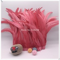 New watermalon red 2m/lot 12 14inches 30 35cm height Coque Tail Fringes Rooster feather trim rooster tail trimming ribbon