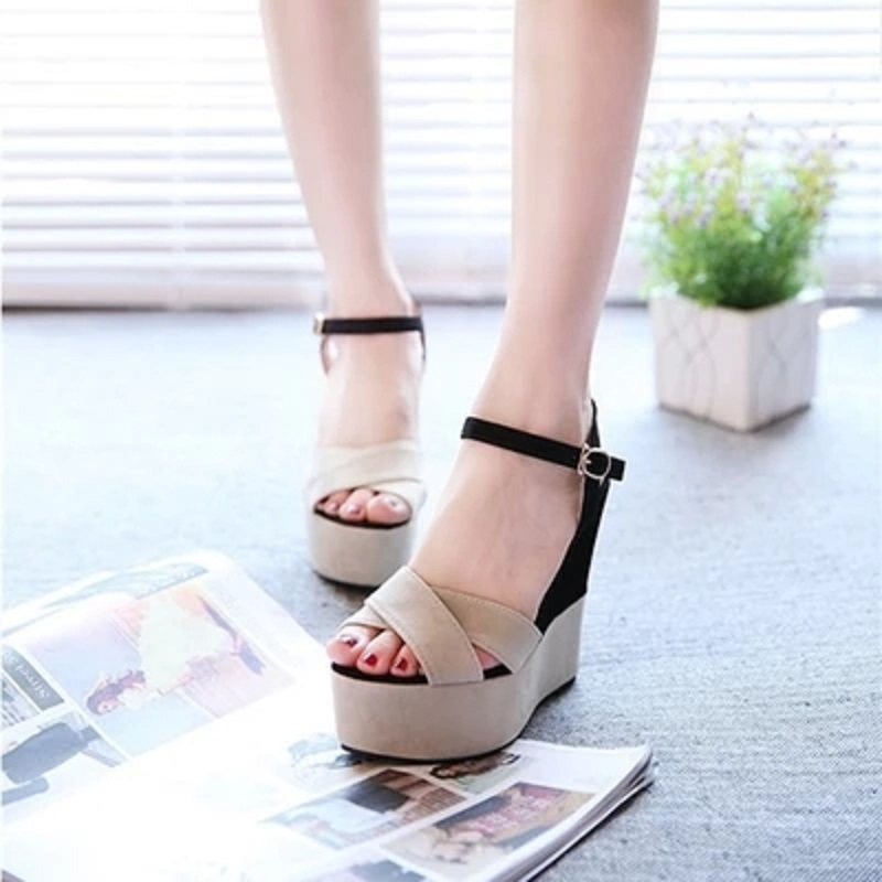 2019 summer new slope with fish mouth sandals female high-heeled belt buckle shallow mouth women's shoes with a fashion shoes 15