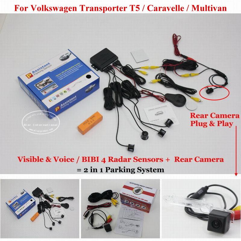 For Volkswagen Transporter T5 Caravell Multivan Car Parking Sensors+Rear View Camera = 2 in 1 Visual / BIBI Alarm Parking System