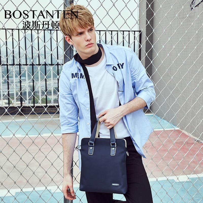 Bostanten men bolso de mano de diseño Vertical bandolera para hombres de moda bolsa impermeable Messegner portátil bolso de mano de nailon-in Bolsos de doble asa from Maletas y bolsas    2