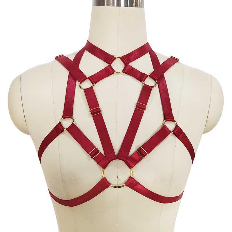 267dd55732 Pastel Goth Red O-Rings Elastic Bondage Body Harness Punk Pole Dance Harness  Bra Rave