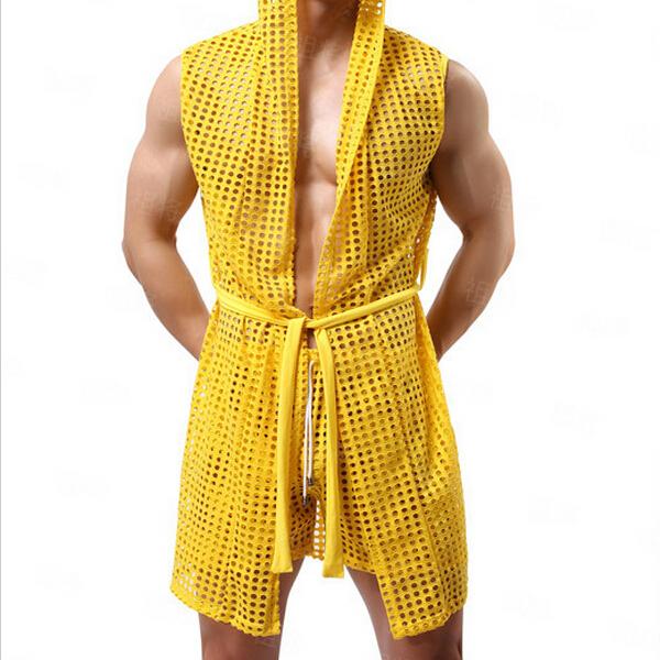 Hot! Masculino Verão Roupão de Malha Perspectivity Net com um Roupão de Banho capô Manto Recorte Sexy Roupa Interior dos homens dos homens sleepwear