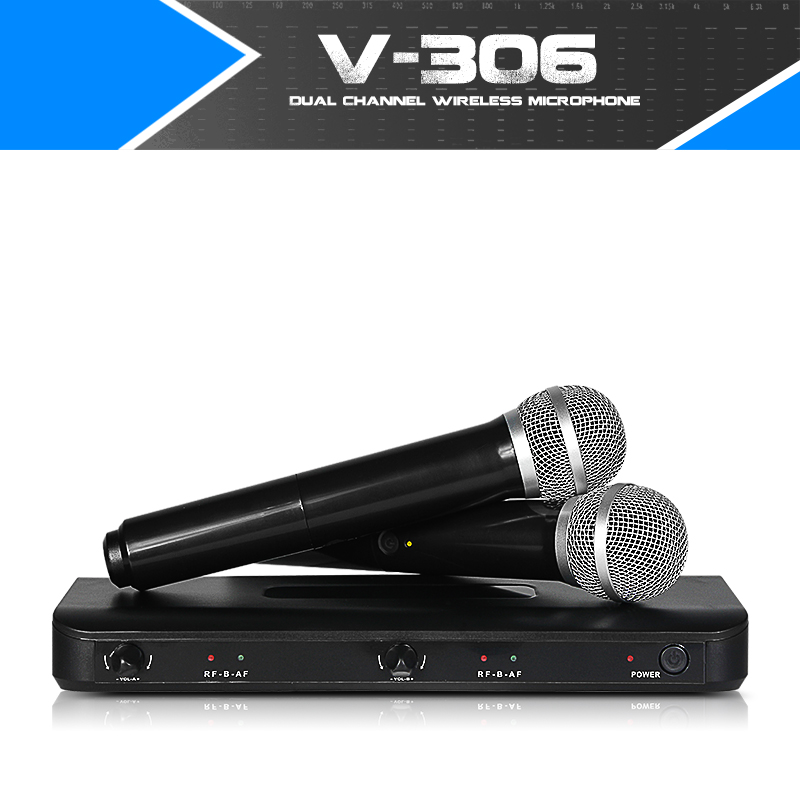 Free shipping professional wireless microphone VHF home KTV karaoke double channel hands holding the home entertainment holding the line