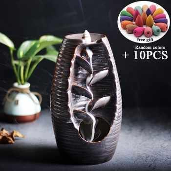 Cascade Backflow artisanat porte-encens en céramique fumée brûleur d'encens encensoir cadeau de la mère décor à la maison