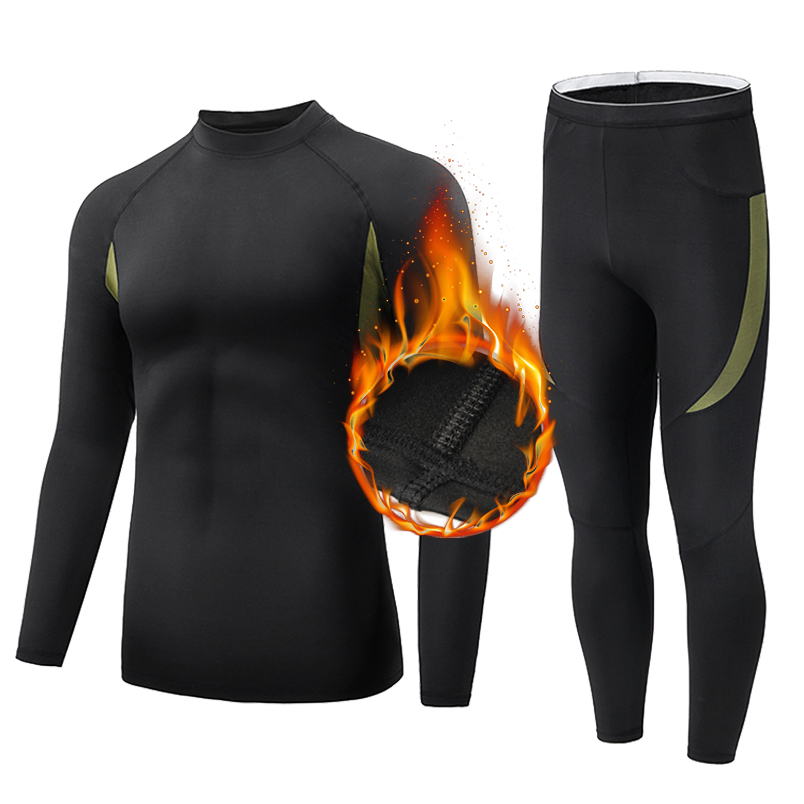 Men Thermal Underwear Set Wicking Long Johns Quick Dry Base Layer Long sleeve Sport Compression Suit for Workout Skiing Running