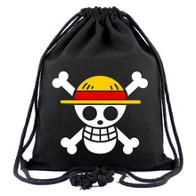 IVYYE 1PCS One Piece Pirate Fashion Canvas Backpacks Cartoon Drawstring Backpack Casual String Bags shopping Knapsack Unisex New