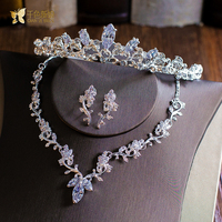 Gorgeous Gold Plated Crown Pendant Necklace Earrings Cubic Zirconia Jewelry Set Hairband Bridal Wedding Accessories Gifts