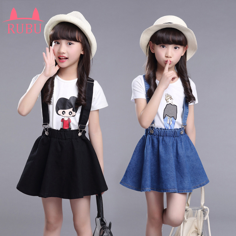 New 2017 Summer Girls Dress Clothing Sets Fashion Short Sleeve T-shirt+Denim Cotton Skirts Children Kids Girl Clothes 2pcs Set