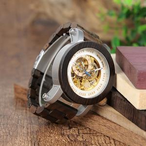 Image 5 - BOBOBIRD K12 Sándalo Rojo y Acero Expuesto Antique Steampunk Esqueleto Reloj Mecánico de Bronce de La Vendimia Reloj Masculino Ocasional Automática
