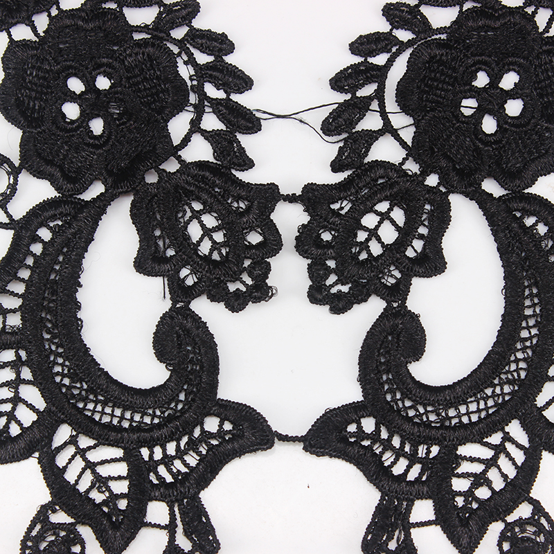 Black Beaded Sequin Embroidered Applique Sewing//Costume//Crafts//Bridal Pair