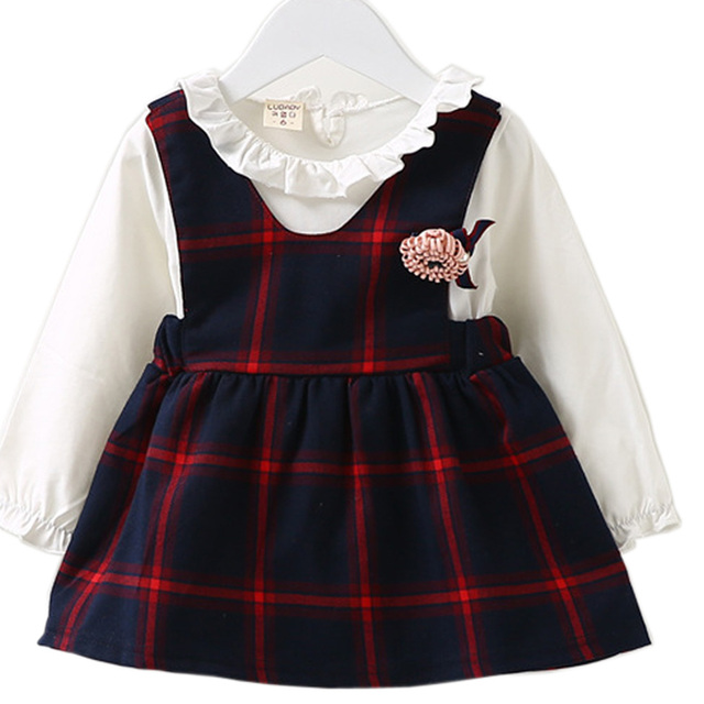 098b761298 DIIMUU New Autumn Fashion Baby Girls Clothing Casual Dress Cotton Flower  Appliques Plaid Fake Two Piece Cute Lovely Dresses