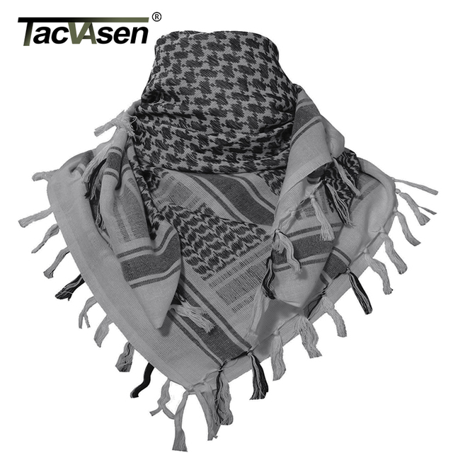 TACVASEN Men Military Scarf Tactical Desert Arab Keffiyeh Scarf Camouflage  Head Scarf Women Arabic Cotton Paintball Face Mask 12ac3c81f