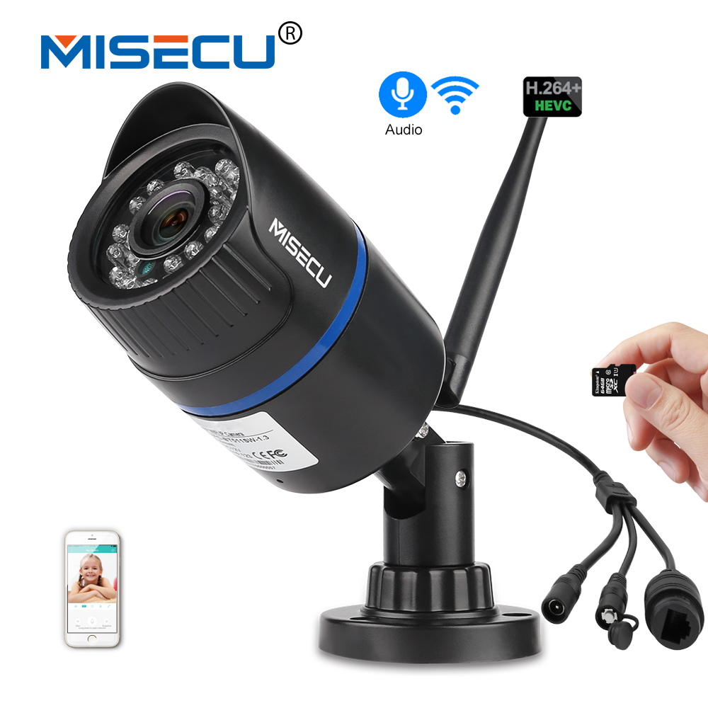 MISECU wide angle 2.8mm WiFi IP Camera Audio Record 960P HD Network 1.3MP SD card and Waterproof Nignt Vision Power Adapter 720p wifi ip camera waterproof hd network 2mp lens wifi camera day nignt vision in outdoor ip camera with free power adapter