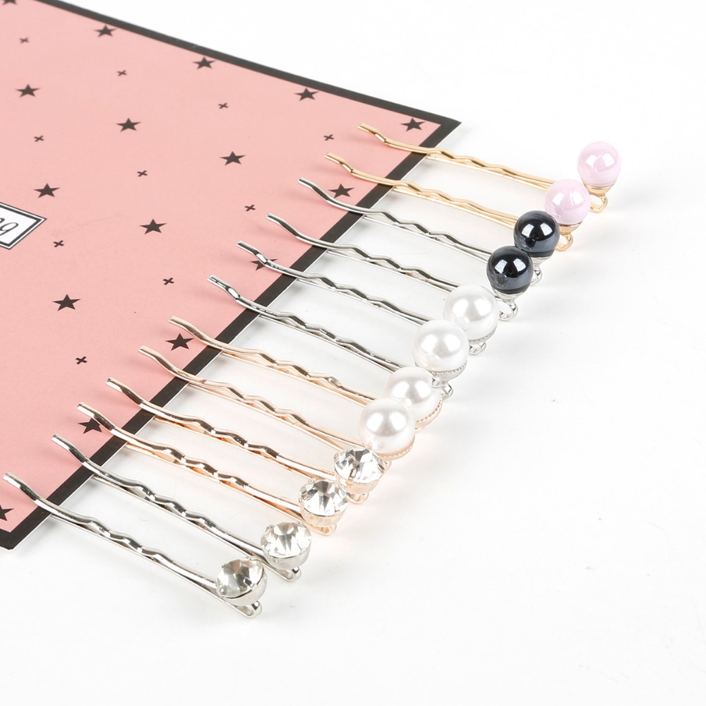 Simple 2Pcs/Pair Rhinestone Pearl Metal Gold Rhodium Color Hair Clip Bobby Pin Barrette Hairpin for women girls Hair Accessories