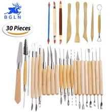 30 ピース/セット粘土彫刻ツール陶器彫刻ツールセット includes粘土カラーシェイパークレイスカルプ、モデリングツール & 木製彫刻ナイフ