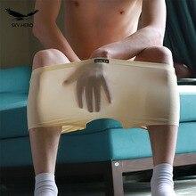 Mens boxers underwear men boxer seamless slip homme sexy silk underpants shorts transparent cueca masculina brand metrosexu view