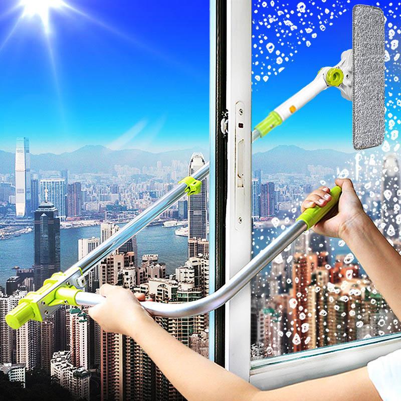 Eworld Telescopic High-rise Window Cleaning Brush Glass Window Cleaner Brush For Washing Window Dust Brush Window Cleaner