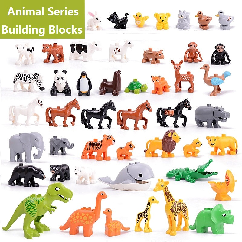 Big Bricks Compatible Duploed Blocks Animal Series Model Figures Building Block Dinosaur Elephant Kids Educational Toys