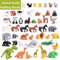 Big Bricks Compatible Legoing Duploed Blocks Animal Series Model Figures Building Block Dinosaur Elephant Kids Educational Toys