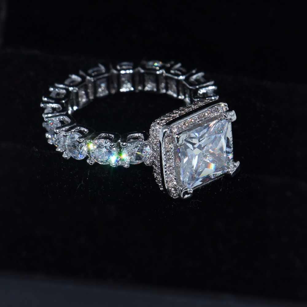 Promotion!!! Véritable solide 925 argent bagues de mariage bijoux pour femmes carré 3 carats Sona CZ Diamant bagues de fiançailles accessoires