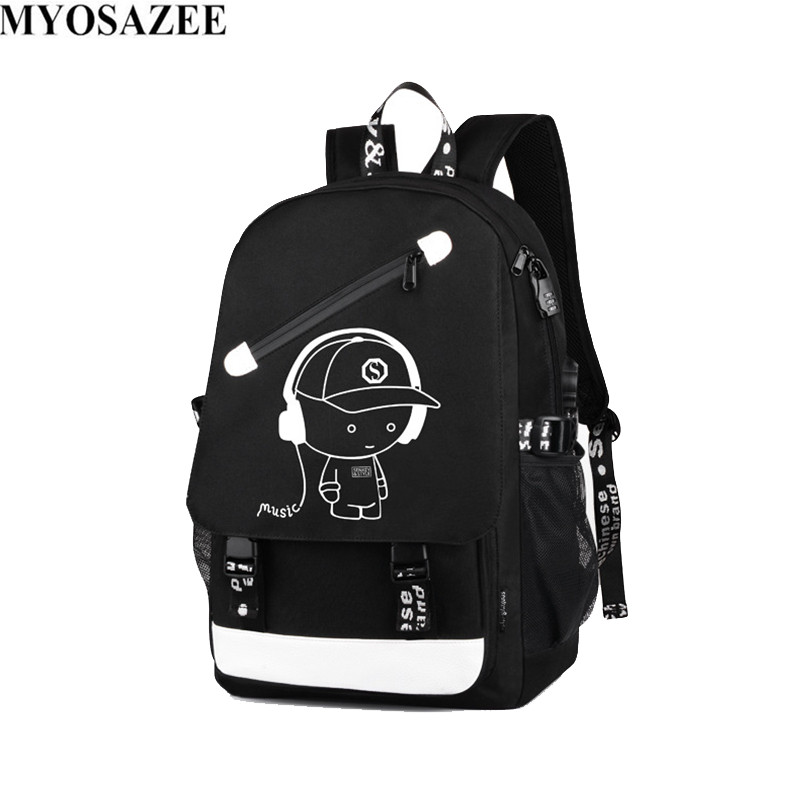 Brand Men Luminous Backpacks USB Charge Backpack Anti theft Computer Bags School Casual Travel Canvas Backpack