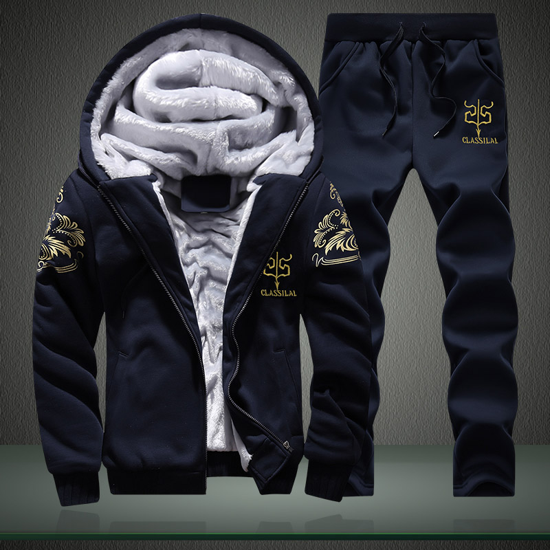 Winter Inner Fleece Hoodies Men Casual Hooded Warm Sweatshirts Male Thicken Tracksuit 2PC Jacket+Pant Men 9