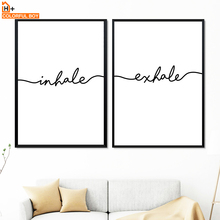 Inhale Exhale Quotes Wall Art Canvas Painting Nordic Posters And Prints Black White Pictures For Living Room Bedroom Decor