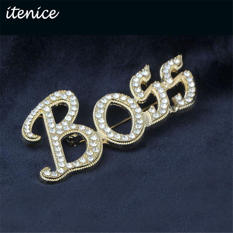Itenice 2017 New Fashion Jewelry Brand Classic Trendy Style Word Of Boss Crystal Metal Brooch For Wonder Boys