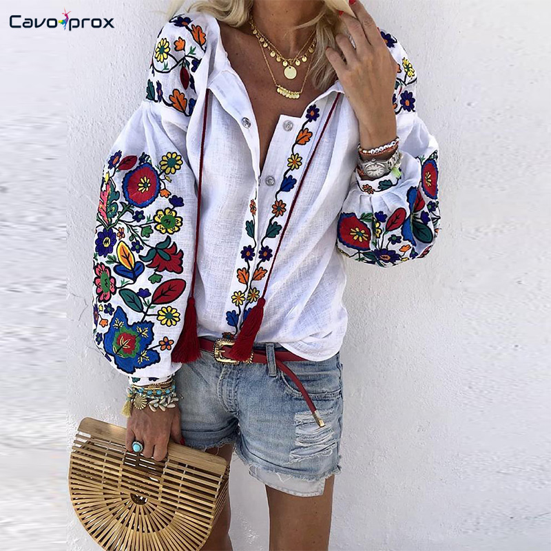 Women Floral Print Lantern Sleeve   Blouse   Bohemian Style Embroidery O-Neck Long Sleeve Fashion New Trends Spring Fall   Shirt