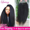 7a Malaysian Kinky Straight Closure Coarse Yaki Virgin Human Hair Free Middle 3 Part Lace Closure Bleached Knots With Baby Hair
