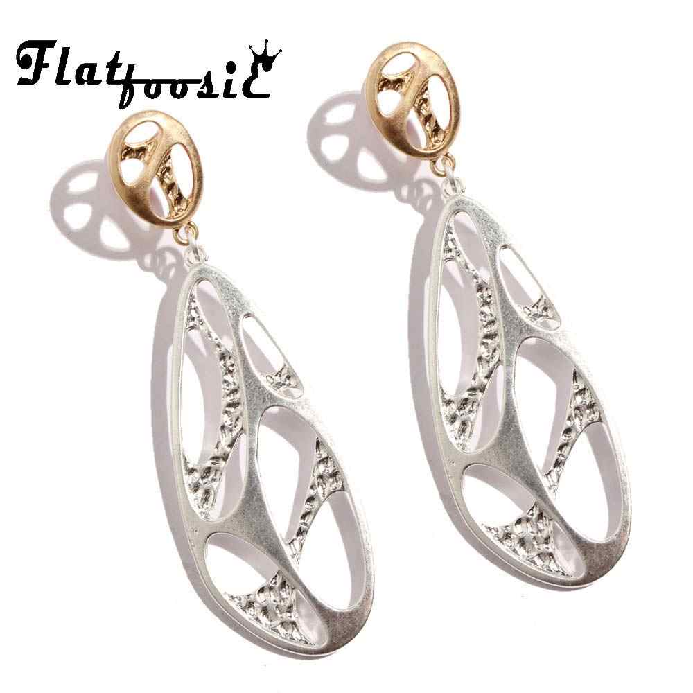 Flatfoosie Vintage Leaf Dangle Earrings 2018 Punk Simple Irregular Geometric Rteo Antique Drop Earring Brincos Jewelry For Women