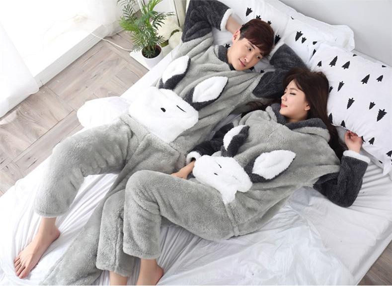 Cartoon woman and man Adult rabbit kawaii hooded pajamas flannel winter home sleepwear cloths set Tops+Pants M-XXL