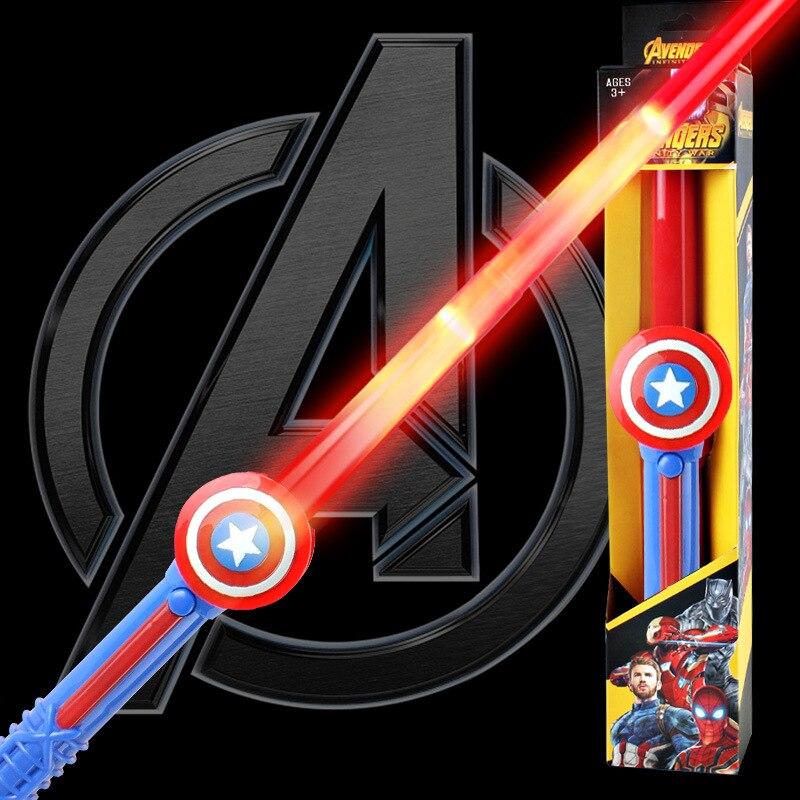 Marvel Avengers4 Superhero Captain America Anime Glowing Mask Light Sword Gloves Captain America Shield Toys  Light Up Toys