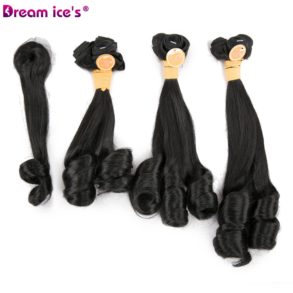 Dream Ice's Afro Synthetic Loose Wave Hair Extensions Tissage Weaving 9 Bundles