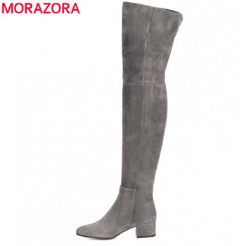 MORAZORA 2020 brand fashion boots women high quality Faux Suede over the knee boots square heel ladies winter thigh high boots