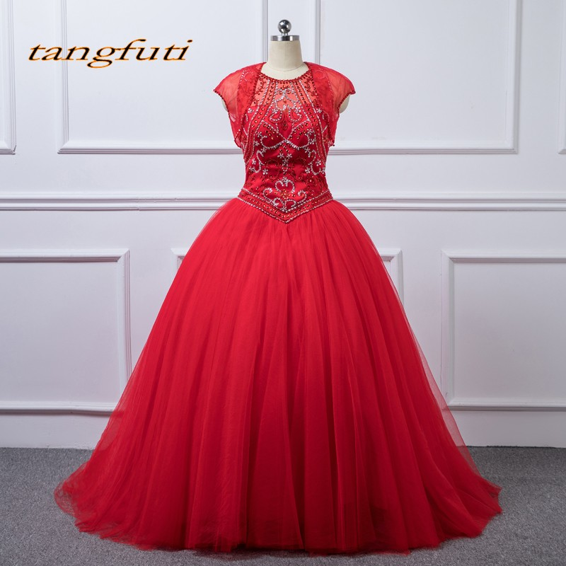 1bfc54058b8 Red Quinceanera Dresses Long 2018 Crystals Beaded Tulle Sweet 16 Dresses  Ball Gown Masquerade Ball Gowns vestidos de 15 anos