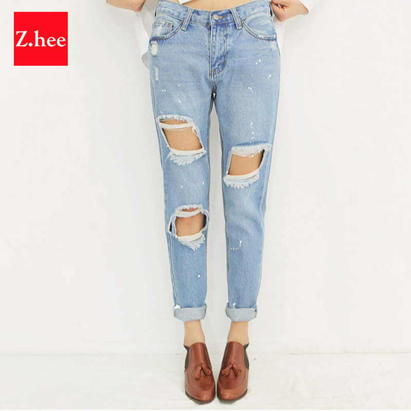 Casual Holes Mid-Rise Ripped Boyfriend Jeans Women Denim Fashion Loose Capris Jeans Slim Beggar Female Jeans Pencil Pants boyfriend jeans women pencil pants trousers ladies casual stretch skinny jeans female mid waist elastic holes pant fashion 2016