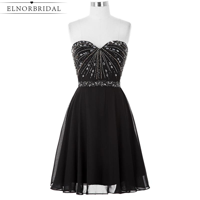 Little Black Cocktail Dresses 2017 Robe Cocktail Courte Chic Sweetheart Beading Short Prom Dress Girls Homecoming Party Gowns