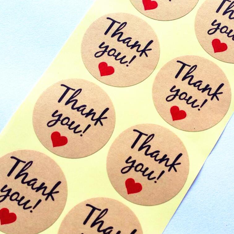 100pcs/lot VintageThank you Heart Round Kraft paper Seal sticker For handmade products baking products sealing sticker lable