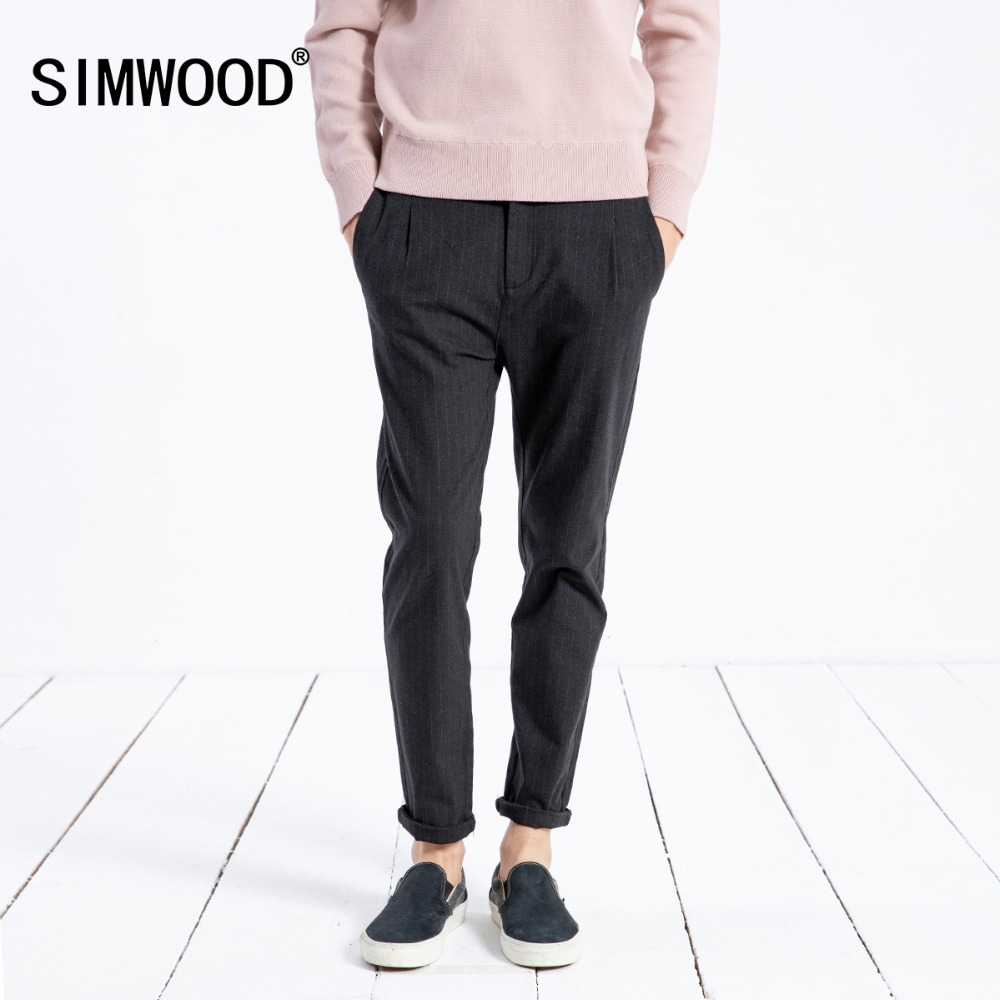 SIMWOOD 2018 Новые повседневные брюки мужские по щиколотку приталенные винтажные брюки высокого качества мужские большие размеры брендовая оде...
