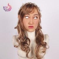 Crossdress жизнь Elanore Ангел лицо Реалистичная силиконовая женская маска маскарадвечерние вечеринка Хэллоуин маска кукла для Косплей транссексу
