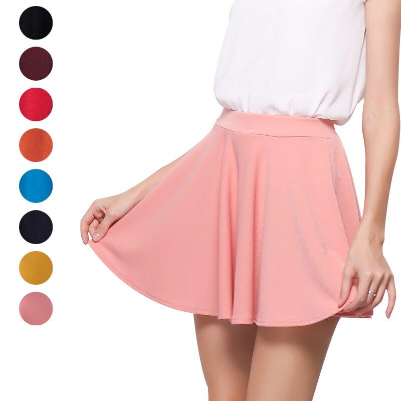 Summer Women Mini Skirt Elastic Basic Stretchy High Waist Lady Girl Casual Flared Skirts H9