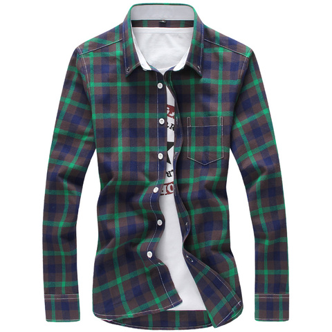 2019 Plaid Shirts Men Cool Design Full Length High Quality Cotton Spring Dress Shirts Camisa Masculina 5XL Plus Size Men Shirts Karachi
