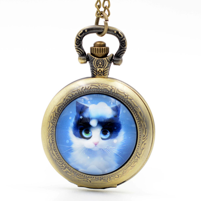Fashion Lovely Cute Blue Cat Kitty Black/Silver/Bronze Quartz Pocket Watch Analo