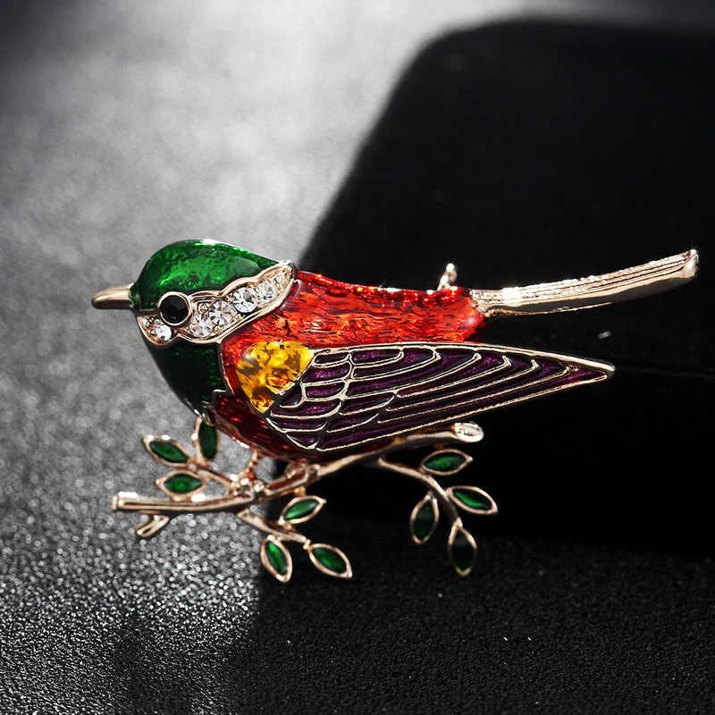 Fashion Wanita Merek Enamel Burung Cabang Bros Anak-anak Wanita Korsase Klip untuk Setelan Syal Gaun Ulang Tahun Perhiasan Kartun Pin