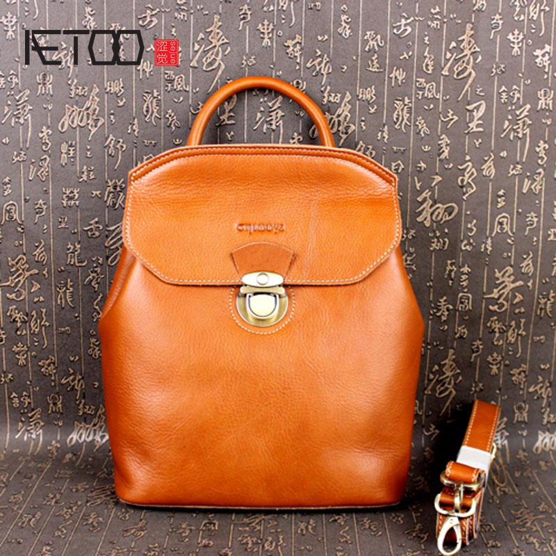 AETOO The first layer of leather women European and American College wind shoulder bag oil wax leather leather aetoo first layer of leather korean version of the tide ladies oil wax leather handbag ladies shoulder messenger bag