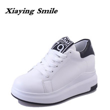 Xiaying Smile Woman Pumps Women Shoes Wedges Heels Platform Casual Thick Sole Lace Up Heart Shaped Patent Leather Women Shoes