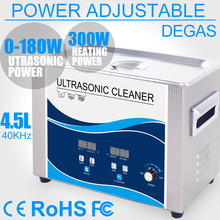 180W Ultrasonic Cleaner 4.5L Power Adjustable Degas Heater Transducer Sonic Remove Stain Oil Dental Lab Lens PCB Tattoo Tools